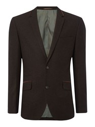 Linea Men's Times Wool Blazer With Velvet Trims Chocolate