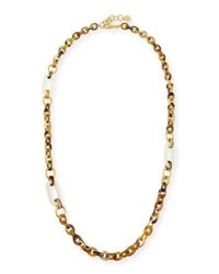 Nest Horn Link Necklace W Bone And Golden Accents 36 Yellow White