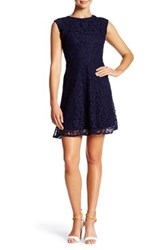 Maggy London Cap Sleeve Lace Fit And Flare Dress Petite Blue
