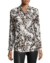 Equipment Slim Signature Long Sleeve Shirt Ecru Multi