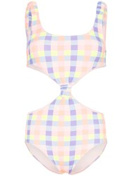 Paper London Barbuda Cut Out Gingham Swimsuit Orange