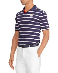 Ralph Lauren Friday Usa Ryder Cup Striped French Knit Golf Polo Shirt Navy