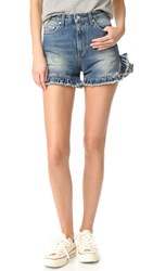 Msgm Ruffle Denim Shorts Light Blue