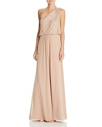 Aidan Mattox Beaded One Shoulder Gown Light Mink