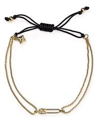 Rebecca Minkoff Safety Pin Chain Adjustable Pull Tie Bracelet Gold
