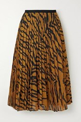 Adam By Adam Lippes Pleated Tiger Print Voile Midi Skirt Orange