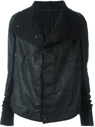 Rick Owens Drkshdw Flap Long Collar Denim Jacket Black