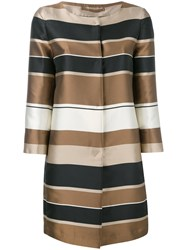 Herno Striped Coat Women Silk Polyester 42 Nude Neutrals