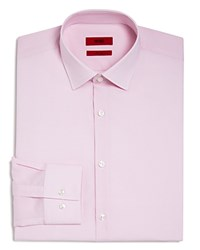 Hugo Micro Gingham Check Slim Fit Dress Shirt Pink
