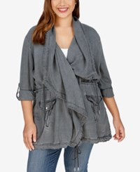 Lucky Brand Trendy Plus Size Draped Chambray Utility Jacket Black