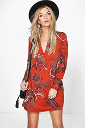 Boohoo Paisley Wrap Shirt Dress Rust