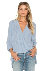 Maven West Surplice Collared Top Baby Blue