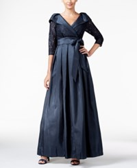 Jessica Howard Belted Portrait Collar Ball Gown Navy
