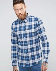 Lee Rider Check Flannel Shirt Blue Washed Blue