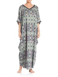 Josie Natori Terrain Cotton Caftan Coverup Tea