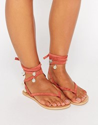 Asos Freesia Suede Coin Tie Leg Flat Sandals Coral Pink