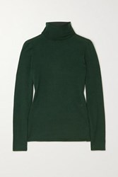 Burberry Embroidered Cashmere And Silk Blend Turtleneck Sweater Green