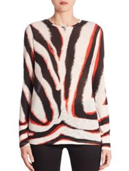 Proenza Schouler Tiger Print Cotton Tee White Black Red Zebra