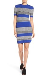 Kendall And Kylie Graphic Stripe Body Con Dress Blue