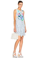 Peter Pilotto Viscose Crepe Asymmetric Dress In White Blue Floral White Blue Floral