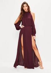 Missguided Burgundy Split Front And Sleeve Maxi Dress