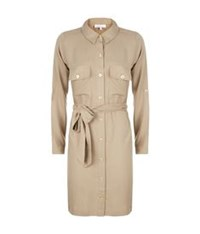 Heidi Klein Belted Shirt Dress Beige