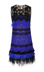 Oscar De La Renta Sleeveless Jewel Neck Feather Cocktail Dress Blue