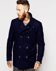 Asos Wool Peacoat With Funnel Neck In Navy