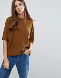 Warehouse Rib Panel Boxy Jumper Mustard Yellow