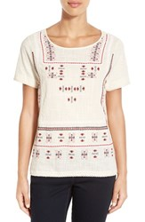 Women's Lucky Brand Embroidered Front Short Sleeve Top