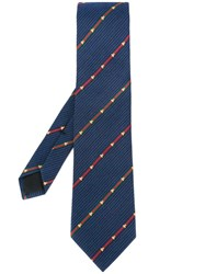 Gucci Bee Embroidered Web Tie Blue
