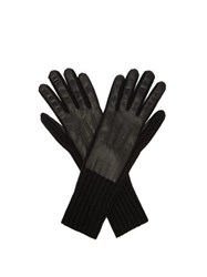 Burberry Leather Panelled Cashmere Gloves Black