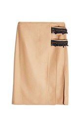 N 21 Embellished Skirt With Wool And Cashmere Camel