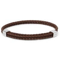 Hugo Boss Woven Leather And Silver Tone Bracelet Brown
