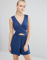 Asos Jersey Cut Out Wrap Playsuit Dark Teal Blue