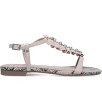 Kg By Kurt Geiger Napa Suede And Snake Print Sandals Nude