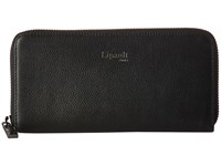 Lipault Paris Plume Elegance Leather Zip Around Wallet Black Wallet Handbags