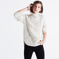 Madewell Cableknit Shirttail Turtleneck Sweater Donegal Oatmeal