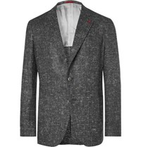 Isaia Grey Slim Fit Donegal Silk Wool And Cashmere Blend Blazer Gray