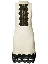 Nicole Miller Geometric Cut Out Detail Dress Nude Neutrals
