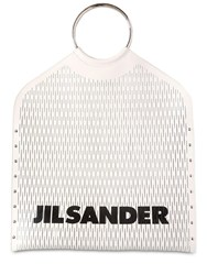 Jil Sander Logo Cut Leather Top Handle Bag White