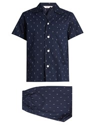 Derek Rose Nelson Cotton Pyjama Set Navy Multi