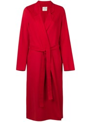Forte Forte Belted Single Breasted Coat Red