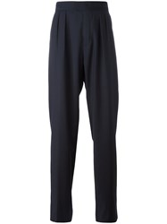 Raf Simons Wide Legged Pleated Trousers Blue