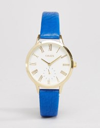Oasis Blue Leather Watch Blue