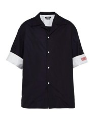 Calvin Klein 205W39nyc Logo Embroidered Cotton Poplin Shirt Navy