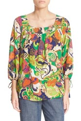 Trina Turk 'Lynley' Print Stretch Silk Peasant Top Multi