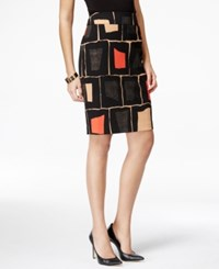 Nine West Geo Print Pencil Skirt