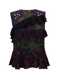 Markus Lupfer Black Navy And Hot Pink Leopard Spot And Monstera Georgette Ruby Top Blue