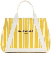 Balenciaga Navy Cabas M Striped Canvas Shopper Yellow
